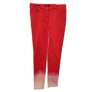 H&M Upcycled Ombre Reverse Dye Red Pants, Size 6